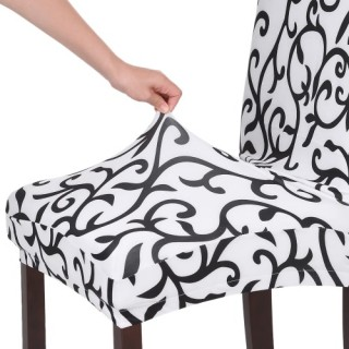 High Quality Stretch Removable Washable Short Dining Chair Cover Soft Milk Silk Spandex Printing Cha
