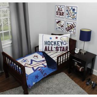 Hockey Toddler Bedding Set - 3pc All Star Sports Blanket and Fitted Sheet