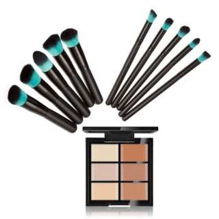 Huamianli Makeup Cosmetic Kit 6 Colors Concealer Contour Palette + 10Pcs Cosmetic Brushes Set Face M
