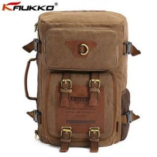 KAUKKO Men Canvas Multifunction Backpack Laptop Backpack Travel Crossbody Bag