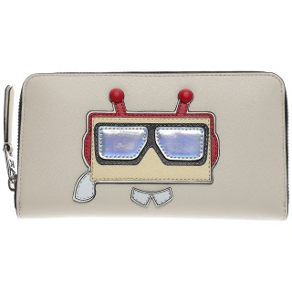 Karl Lagerfeld Wallet for Women, White, Leather, 2017