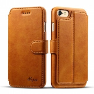 Leather Cover Wallet Back Case with Card Cases for iPhone 8/ 7- Khaki