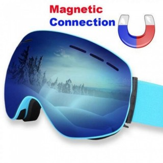 Magnetic Ski Goggles Double Lens Anti-fog UV 400 Ski Glasses Men Women Skiing Snowboard Skateboard S