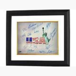 Mark Spitz signed Olympic Winners 16x20 Photo Custom Framed (White USA) w/ 15 signatures (14 Gold Me