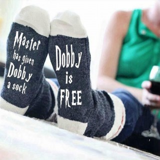 Master Has Given Dobby a Sock Letters Printing Winter Warm Socks