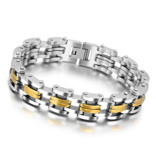 Mens Cycle Chain Stainless Steel Bracelet Bangle
