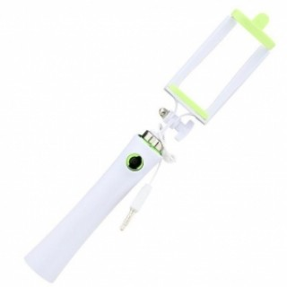 Mini Portable Handheld Wired Selfie Stick for iPhone Android Phone Green