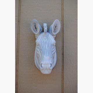 Miniature White and Gray Zebra Wall Mount - Faux Taxidermy Mz42