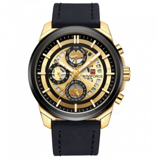 NAVIFORCE 9129 Men's Sports PU Leather Wrist Quartz Watch - Black + Gold (Without Gift Box)