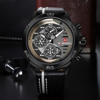 NAVIFORCE Fashion Casual Quartz Watch 3ATM Water-resistant Men Watches Luminous Genuine Leather Wris