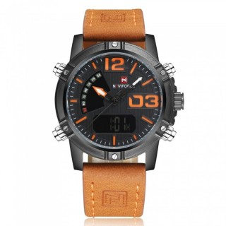 NAVIFORCE NF9095 Men's Sports Army Leather Wrist Quartz Watch - Orange