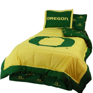 NCAA Oregon Ducks Full Bed Comforter Pillow Shams Set - 3pc Collegiate Cotton Bedding