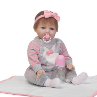 NPK 22in Reborn Baby Rebirth Doll Kids Gift Grey Bunny Sweaters
