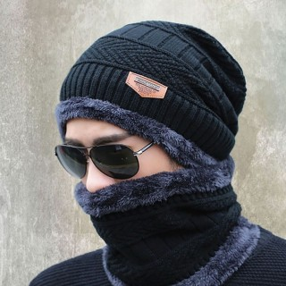 New Knitted Fashion Beanies Knit Men's Winter Hat - Black with Collar
