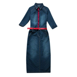New Slim Stripe Denim Dresses Sashes Denim Jeans Long Women Dresses