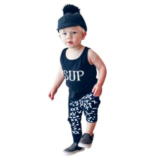 Newborn Infant Baby Boy Girl Sleeveless Top + Pants Set Clothes Set Unisex Toddler Kids Letter cloth