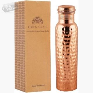 ORIEN CRAFT Hammered Pure Copper Water Bottle