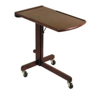Olson Solid Wood Adjustable Laptop Cart in Antique Walnut