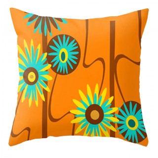 Orange Floral Outdoor Pillow