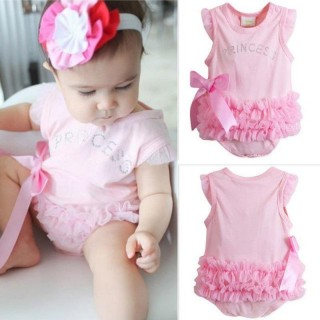Pink Layered Ruffle Crystals Baby Clothes Onesies