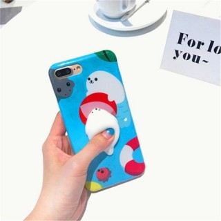 Rabbit with Black Background for iPhone6/6S Case Cute 3D Squishy Silicon TPU Shell Squeeze Stress Re