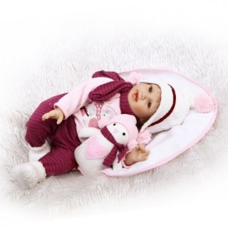 Reborn Baby Doll 22 inch Cloth Body Lifelike Toddler Doll Play House Toy Gift With Pink Snowman Clot