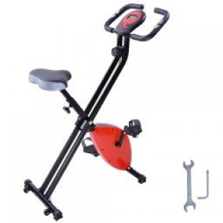 Red Folding Magnetic Exercise Bike LCD Display 2.5KG Cast Iron Flywheel Exercise Bike Resistance Adj