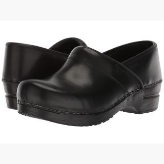 Sanita Professional Cabrio (Black Brush Off Leather) Women's Clog Shoes USA