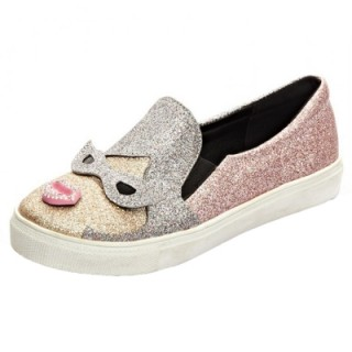 Sequin Girl Pattern Flat Heels Slip-on Shoes