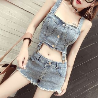 Set: Denim Cropped Tank Top + Denim Shorts