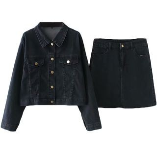 Set: Denim Jacket + A-Line Denim Skirt
