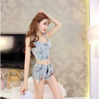 Set: Denim Tank Top + Fray Hem Denim Shorts
