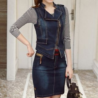Set: Long-Sleeve T-Shirt + Denim Vest + Denim Skirt