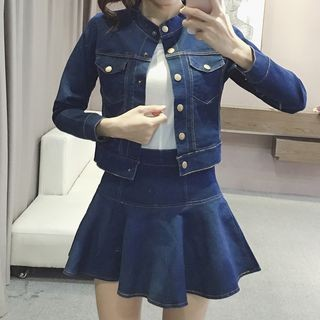 Set: Stand Collar Denim Jacket + A-Line Denim Skirt