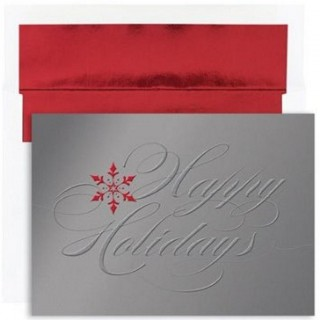 Shimmering Happy Holidays Boxed Christmas Cards and Envelopes - Quantity of 32 UK