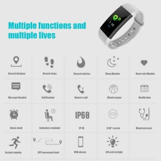 Smart Band Bracelet Watch Wristband Fitness Tracker BT 4.0 Android iOS Compatibility 0.96in OLED Tou