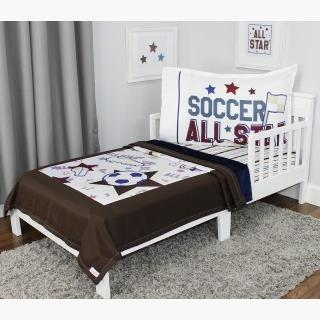 Soccer Toddler Bedding Set - 3pc All Star Sports Blanket and Fitted Sheet