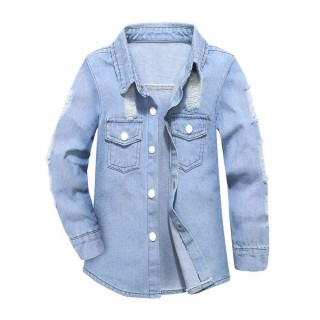 Spring Fashion Children Denim Jacket Coat Jeans Collar Holes Pockets Denim Coat Outwear Clothes Cost