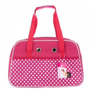 Stylish Dot Nylon Pet Carrier Bag for Cat Dog Large Size - Fuchsia