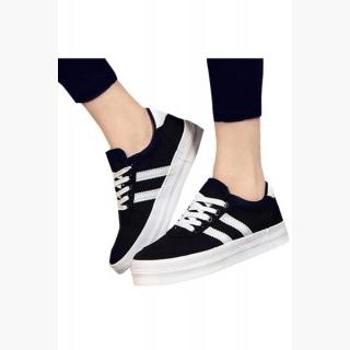 Stylish Striped Canvas Lace Up Platform Woman Sneakers Sverige