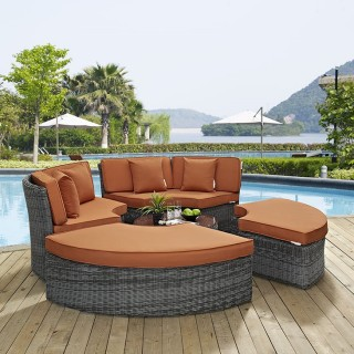 Summon Circular Outdoor Patio Sunbrella?? Daybed in Canvas Tuscan