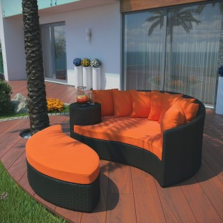 Taiji Outdoor Patio Wicker Daybed in Espresso Orange