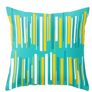 Turquoise Striped Outdoor Pillow