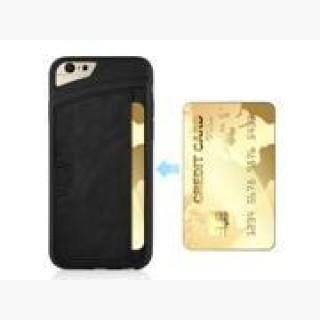 Unique TPU and Leather Protective Back Case with Card Slot for iPhone 6 4.7 inch - Black