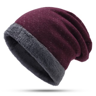Unisex Christmas Vintage Thick Velvet Knit Snow Dots Beanies