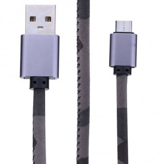 Universal Leather Micro USB Data Sync Charging Cable Cord for Android(Camo)