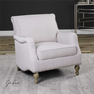 Uttermost Armstead Arm Chair in Antique White