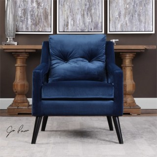 Uttermost O'Brien Velvet Arm Chair in Blue