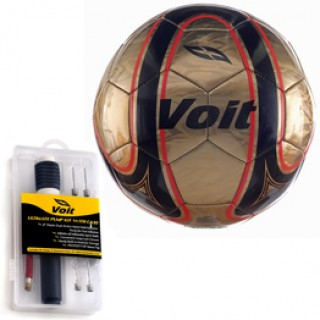 Voit Size 5 Fenix Soccer Ball, Ultimate Inflating Kit-Gold, Black, Red