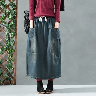 Washed Midi Denim Skirt Denim Blue - One Size